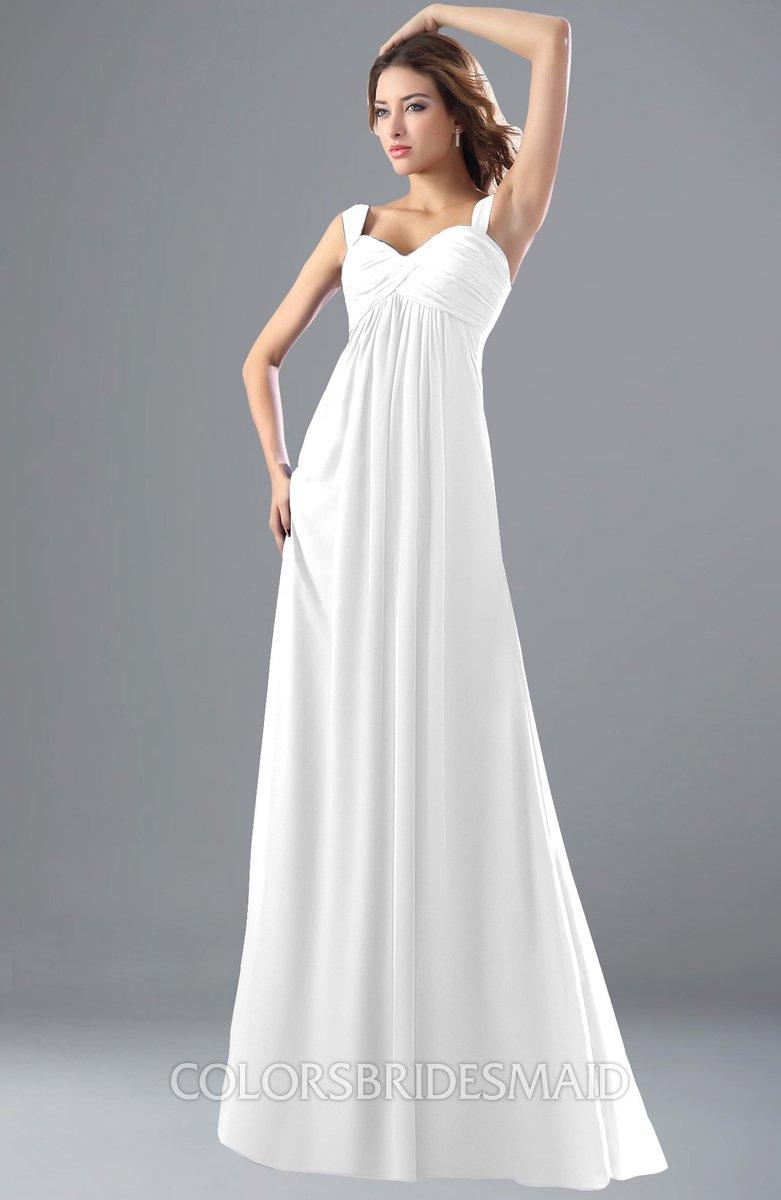 6091e106ceae3 ColsBM Diana White Modest Empire Thick Straps Zipper Floor Length Ruching  Prom Dresses