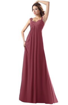 ColsBM Diana Wine Modest Empire Thick Straps Zipper Floor Length Ruching Prom Dresses