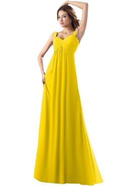 ColsBM Diana Yellow Modest Empire Thick Straps Zipper Floor Length Ruching Prom Dresses