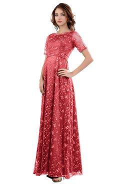 1c1e736b8074 ColsBM Megan Hot Coral Gorgeous Column Scalloped Edge Short Sleeve Floor  Length Lace Bridesmaid Dresses