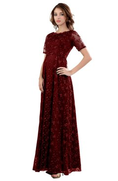 ColsBM Megan Maroon Gorgeous Column Scalloped Edge Short Sleeve Floor Length Lace Bridesmaid Dresses