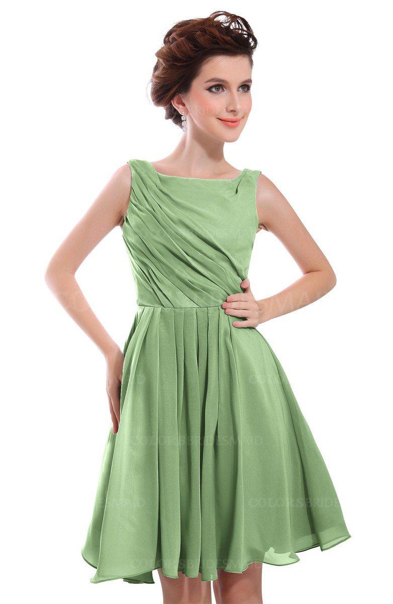 596c3f636ee5 ColsBM Courtney Sage Green Modest A-line Bateau Sleeveless Zip up Ruching  Homecoming Dresses