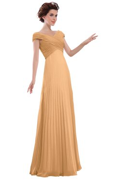 ColsBM Elise Apricot Casual V-neck Zipper Chiffon Pleated Bridesmaid Dresses