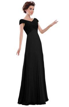 ColsBM Elise Black Casual V-neck Zipper Chiffon Pleated Bridesmaid Dresses