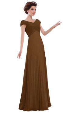 ColsBM Elise Brown Casual V-neck Zipper Chiffon Pleated Bridesmaid Dresses