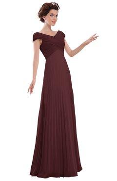 ColsBM Elise Burgundy Casual V-neck Zipper Chiffon Pleated Bridesmaid Dresses