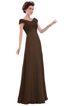 ColsBM Elise Chocolate Brown Casual V-neck Zipper Chiffon Pleated Bridesmaid Dresses