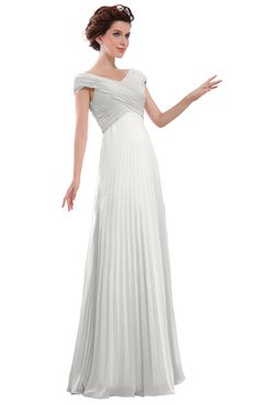 ColsBM Elise Cloud White Casual V-neck Zipper Chiffon Pleated Bridesmaid Dresses