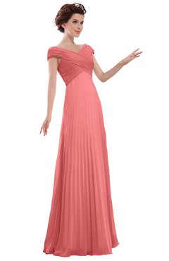 ColsBM Elise Coral Casual V-neck Zipper Chiffon Pleated Bridesmaid Dresses