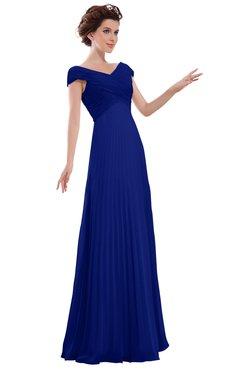 ColsBM Elise Electric Blue Casual V-neck Zipper Chiffon Pleated Bridesmaid Dresses