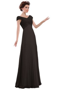 ColsBM Elise Fudge Brown Casual V-neck Zipper Chiffon Pleated Bridesmaid Dresses