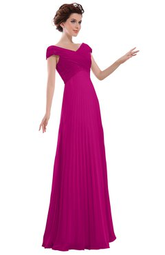 ColsBM Elise Hot Pink Casual V-neck Zipper Chiffon Pleated Bridesmaid Dresses