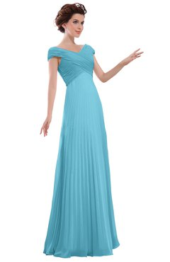 ColsBM Elise Light Blue Casual V-neck Zipper Chiffon Pleated Bridesmaid Dresses
