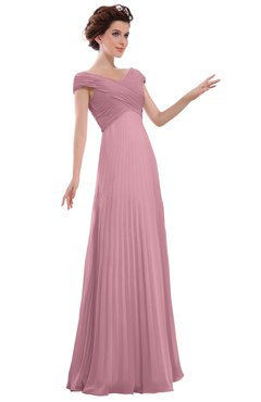 ColsBM Elise Light Coral Casual V-neck Zipper Chiffon Pleated Bridesmaid Dresses