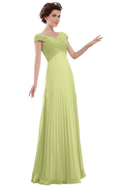ColsBM Elise Lime Green Casual V-neck Zipper Chiffon Pleated Bridesmaid Dresses