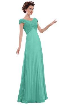 ColsBM Elise Mint Green Casual V-neck Zipper Chiffon Pleated Bridesmaid Dresses