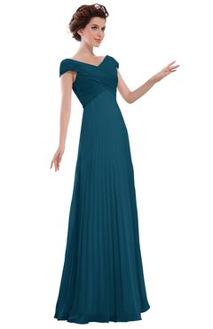 ColsBM Elise Moroccan Blue Casual V-neck Zipper Chiffon Pleated Bridesmaid Dresses