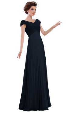 ColsBM Elise Navy Blue Casual V-neck Zipper Chiffon Pleated Bridesmaid Dresses