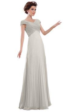 ColsBM Elise Off White Casual V-neck Zipper Chiffon Pleated Bridesmaid Dresses