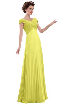 ColsBM Elise Pale Yellow Casual V-neck Zipper Chiffon Pleated Bridesmaid Dresses