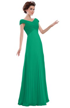 ColsBM Elise Pepper Green Casual V-neck Zipper Chiffon Pleated Bridesmaid Dresses