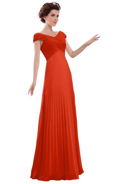 ColsBM Elise Persimmon Casual V-neck Zipper Chiffon Pleated Bridesmaid Dresses