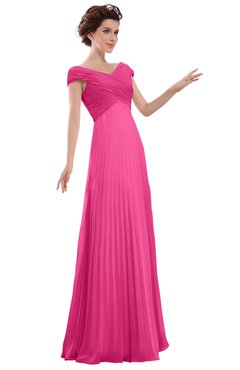 ColsBM Elise Rose Pink Casual V-neck Zipper Chiffon Pleated Bridesmaid Dresses