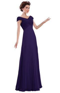 ColsBM Elise Royal Purple Casual V-neck Zipper Chiffon Pleated Bridesmaid Dresses