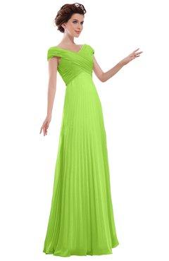 ColsBM Elise Sharp Green Casual V-neck Zipper Chiffon Pleated Bridesmaid Dresses