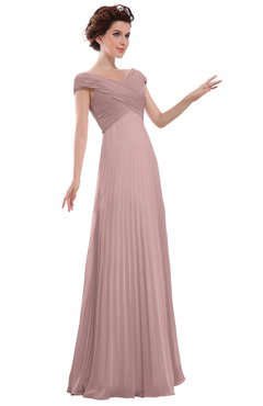 ColsBM Elise Silver Pink Casual V-neck Zipper Chiffon Pleated Bridesmaid Dresses