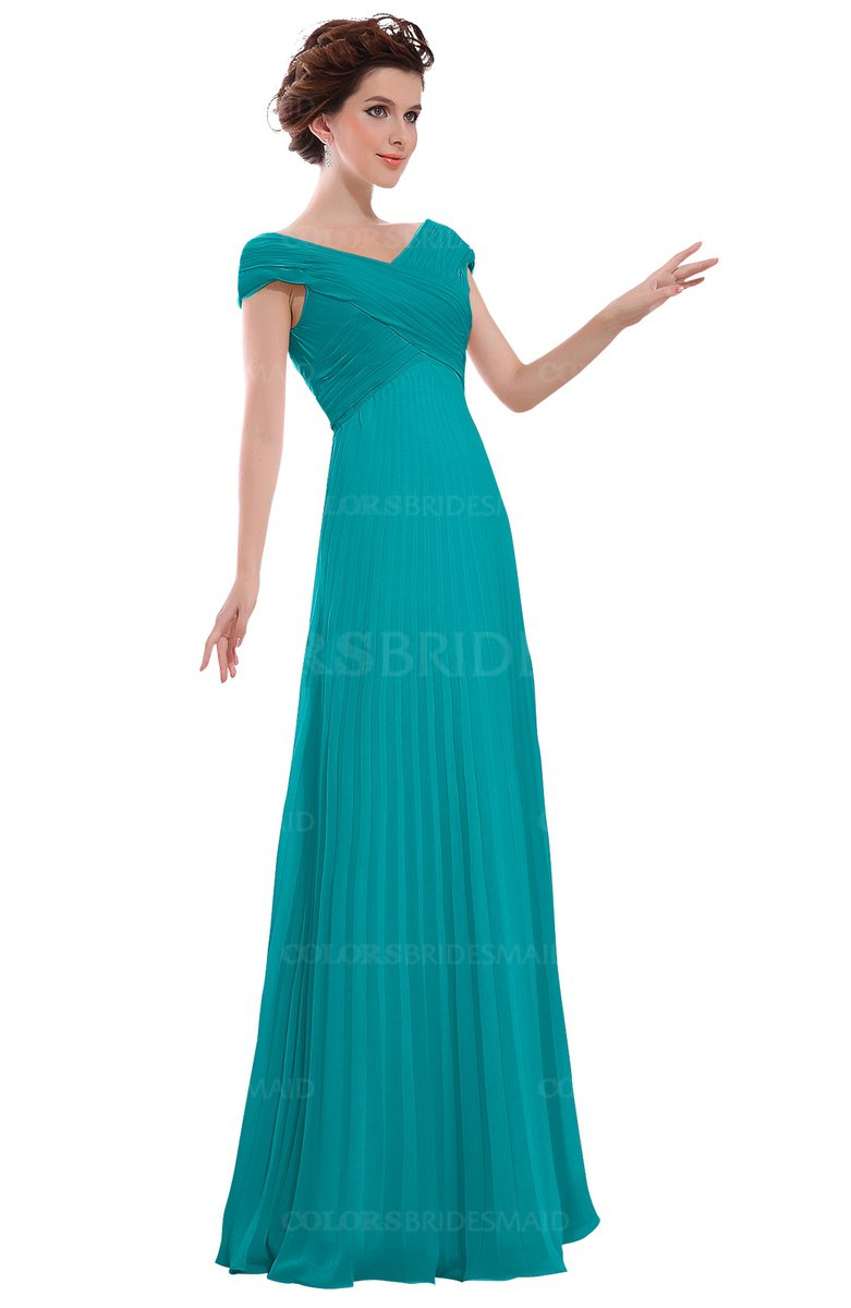 02aa176300a ColsBM Elise Teal Casual V-neck Zipper Chiffon Pleated Bridesmaid Dresses
