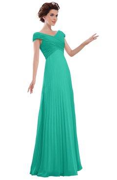 ColsBM Elise Viridian Green Casual V-neck Zipper Chiffon Pleated Bridesmaid Dresses