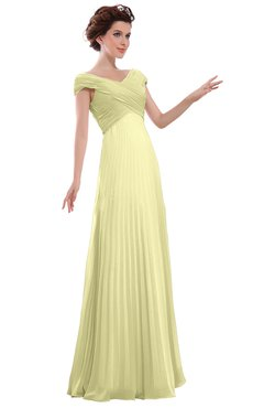 ColsBM Elise Wax Yellow Casual V-neck Zipper Chiffon Pleated Bridesmaid Dresses