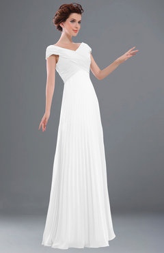 ColsBM Elise White Casual V-neck Zipper Chiffon Pleated Bridesmaid Dresses