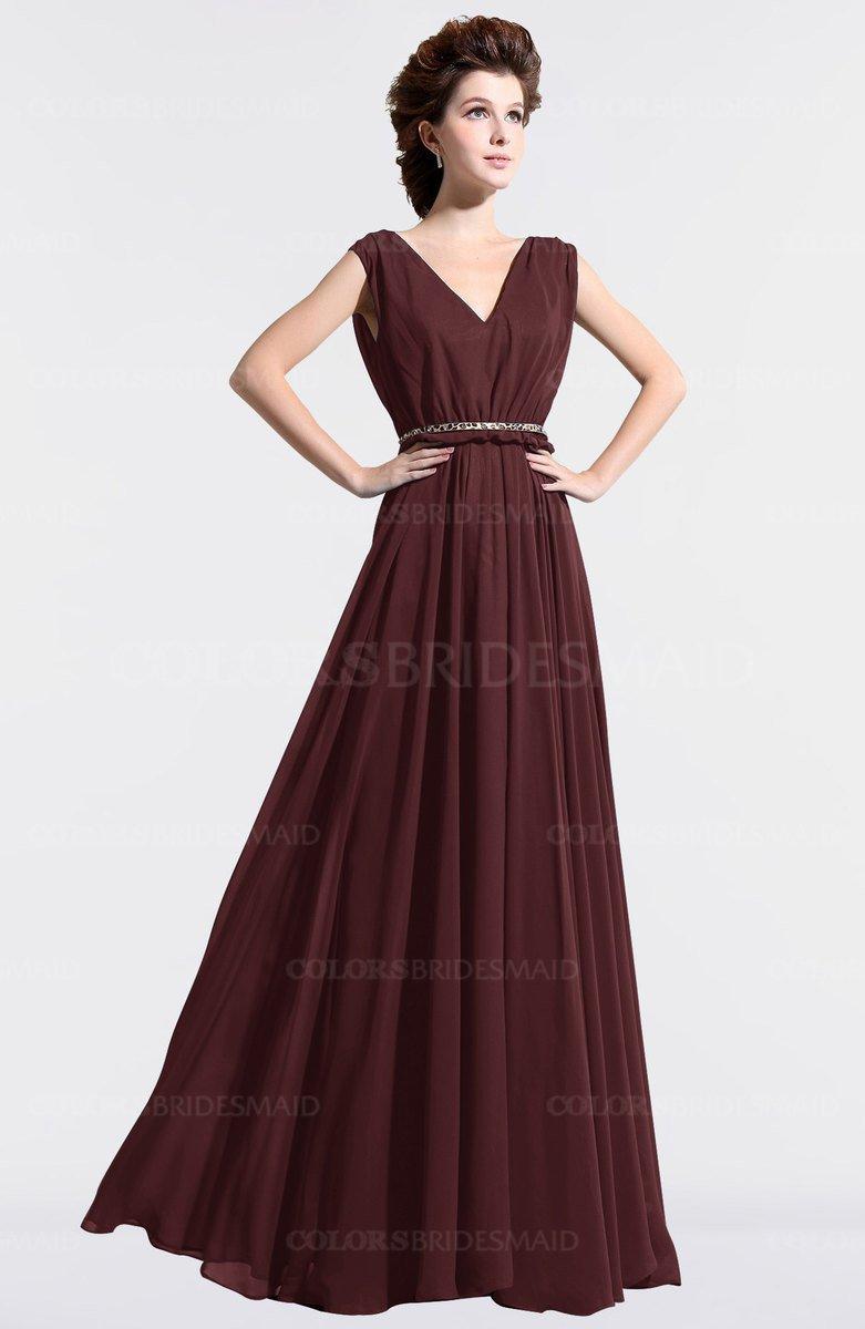 Colsbm Cordelia Burgundy Vintage A Line Sleeveless Chiffon Floor Length Pleated Bridesmaid Dresses