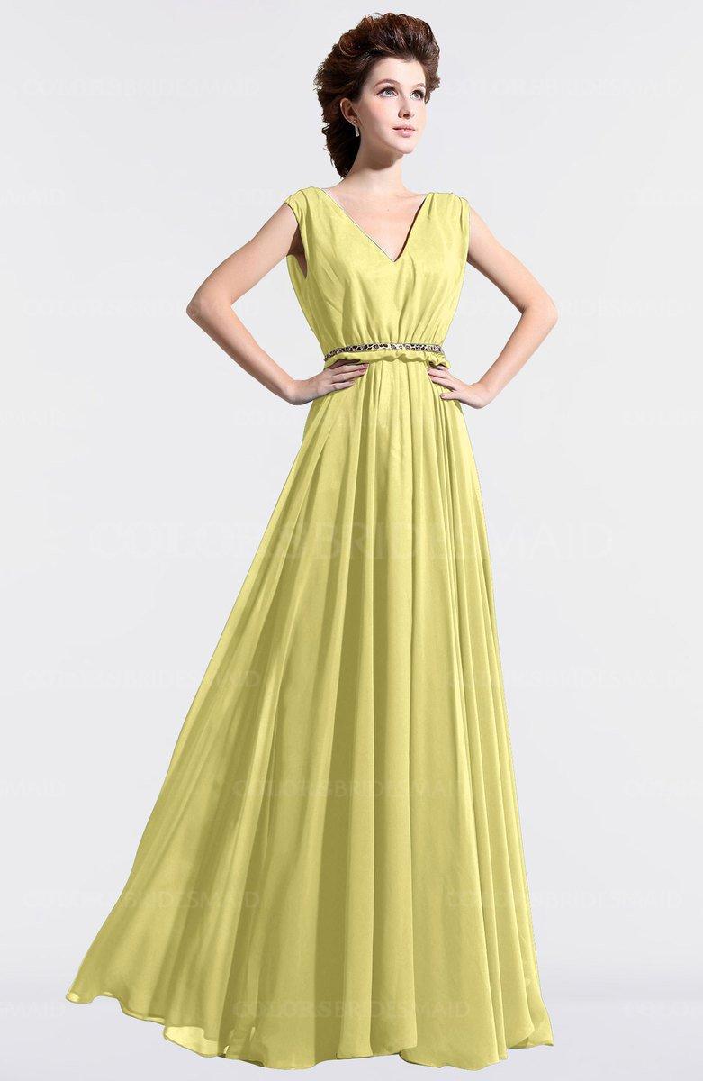 ColsBM Cordelia Pastel Yellow Vintage A Line Sleeveless Chiffon Floor Length Pleated Bridesmaid Dresses