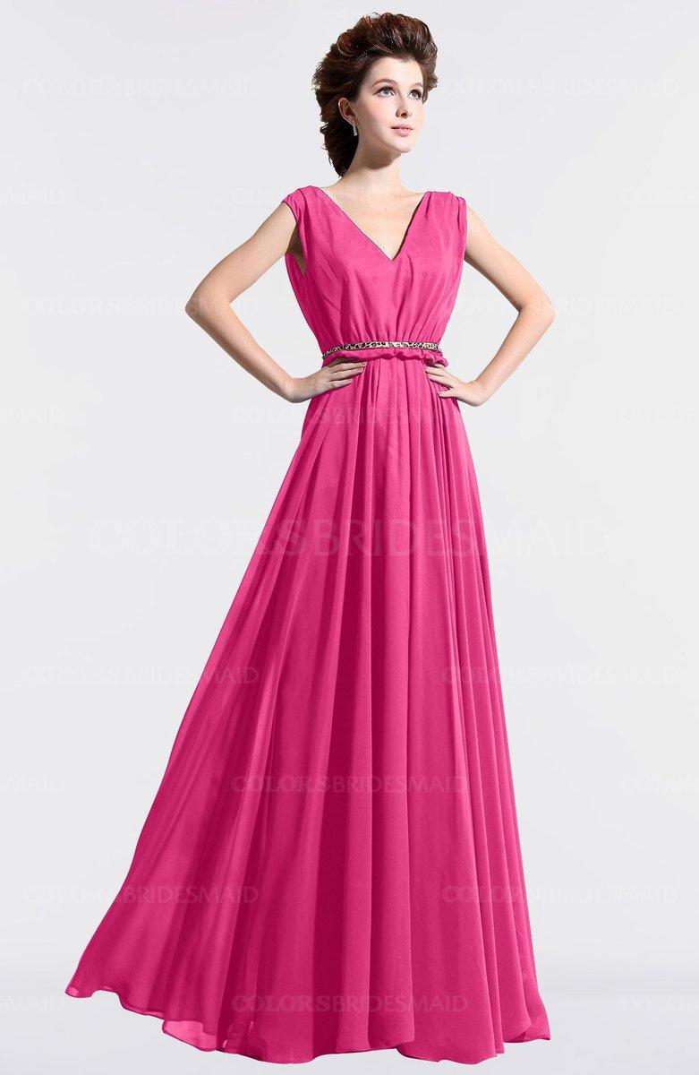 Vintage Pink Pleated Bridesmaid Dresses