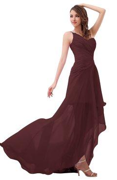 Romantic One Shoulder Sleeveless Brush Train Ruching Bridesmaid Dresses