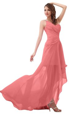 ColsBM Paige Coral Romantic One Shoulder Sleeveless Brush Train Ruching Bridesmaid Dresses