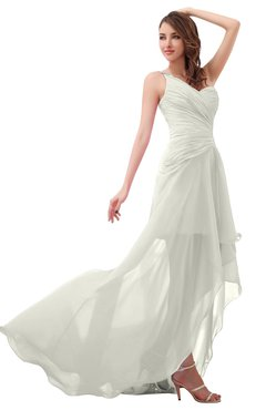 ColsBM Paige Cream Romantic One Shoulder Sleeveless Brush Train Ruching Bridesmaid Dresses