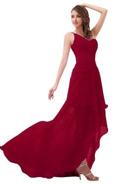 ec9cc157db ColsBM Paige Dark Red Romantic One Shoulder Sleeveless Brush Train Ruching Bridesmaid  Dresses