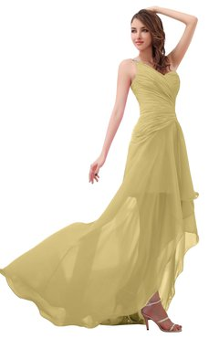 ColsBM Paige Gold Romantic One Shoulder Sleeveless Brush Train Ruching Bridesmaid Dresses