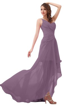 ColsBM Paige Mauve Romantic One Shoulder Sleeveless Brush Train Ruching Bridesmaid Dresses