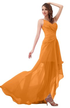 ColsBM Paige Orange Romantic One Shoulder Sleeveless Brush Train Ruching Bridesmaid Dresses