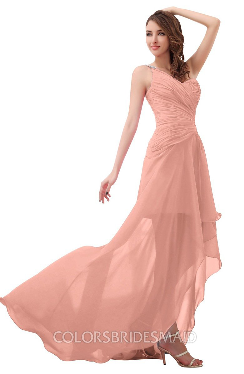 96543bab0e24 ColsBM Paige Peach Romantic One Shoulder Sleeveless Brush Train Ruching  Bridesmaid Dresses