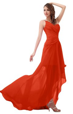 ColsBM Paige Persimmon Romantic One Shoulder Sleeveless Brush Train Ruching Bridesmaid Dresses