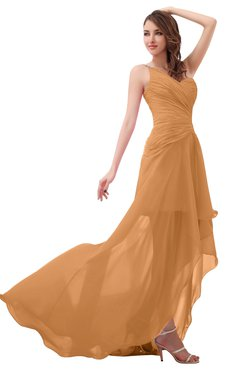 ColsBM Paige Pheasant Romantic One Shoulder Sleeveless Brush Train Ruching Bridesmaid Dresses