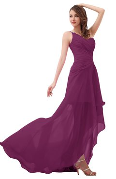 ColsBM Paige Raspberry Romantic One Shoulder Sleeveless Brush Train Ruching Bridesmaid Dresses