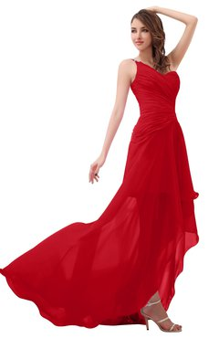 ColsBM Paige Red Romantic One Shoulder Sleeveless Brush Train Ruching Bridesmaid Dresses