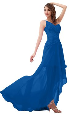 Romantic One Shoulder Sleeveless Brush Train Ruching Bridesmaid Dresses